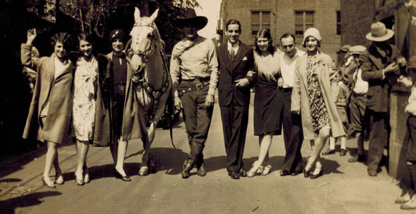 Buck Jones and Silver on a studio backlot. Looks to be in the '30s...can anyone identify others in the photo? (Photo courtesy Tom Weaver.)