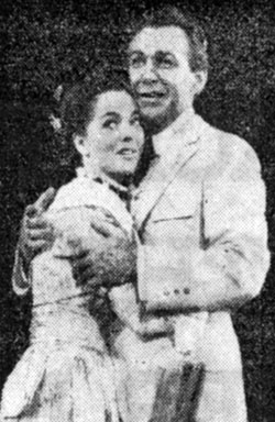 "Romantic duo Joan Weldon and Forrest Tucker appearing at the Shubert Theatre in Chicago in April '59 in Meredith Wilson's musical comedy ""The Music Man""."