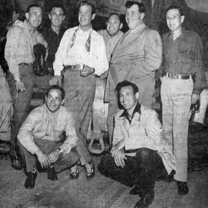 Rex Allen (center) with Andy Devine (left of Rex) and Sons of the Pioneers.