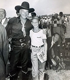 Hopalong Cassidy with eleven and a half year old Lee Nevers at an Akron, OH, Soap Box Derby event on August 13, 1950. Lee's father, Frank Nevers, was a writer for AP and the picture was issued in the BECON JOURNAL. (Thanx to Lee's son Ian Nevers.)