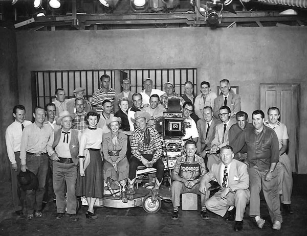 "Primary cast and crew of the ""Roy Rogers"" TV series. Roy and Dale with Harry Harvey to the right of Dale. (Thanx to Steve Hazelwood.)"