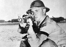 March 1943. Private Sterling Hayden in training at the Marine Corps depot at Parris Island, SC.