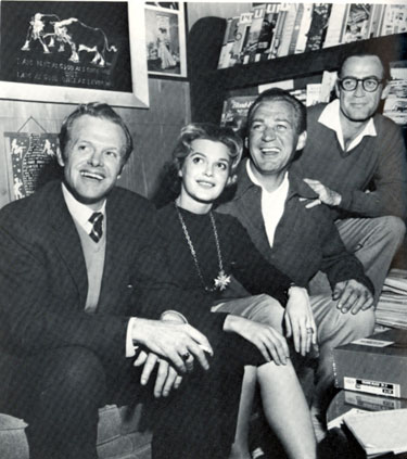 "Kevin Hagen, Gail Kobe, Forrest Tucker and Mark Stevens relaxing at the Mountian Osyter Club in Tucson in December 1957. The four were in town filming ""Gunsmoke in Tucson""."