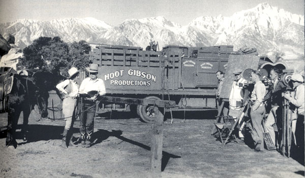 Hoot Gibson and Sally Eilers on location in Lone Pine, CA, in 1930.