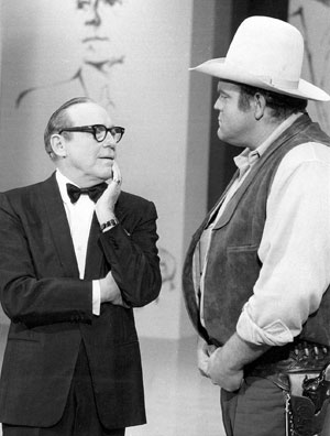 "Dan ""Hoss"" Blocker guests on ""Jack Benny's Birthday Special"" (5/21/69)."