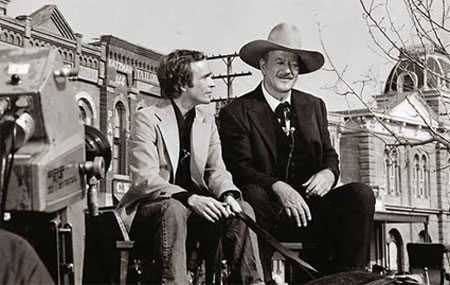 "Dick Cavett interviews John Wayne on the set of his final film ""The Shootist"" in '76."