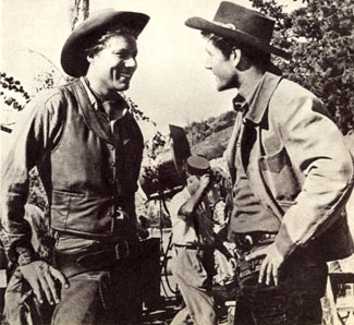 "John Smith and Bob Fuller on location for an episode of ""Laramie""."