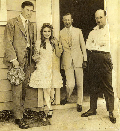 (L-R) William S. Hart, Mary Pickford with filmmakers Jesse Lasky and  Cecil B. DeMille.