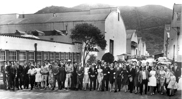 Jack Warner and his panoply of stars on the Warner Bros. backlot in 1961. (See star identification in three photos below.)