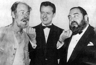 """Stump the Stars"" host and producer Mike Stokey gently tugs at the whiskers of guests Paul Brinegar (Wishbone on ""Rawhide"") and Sebastian Cabot in 1964. Stokey was once married to B-Western actress Pamela Blake."