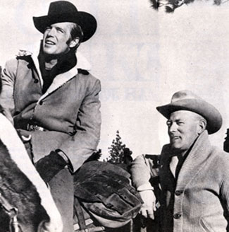 "George Peppard on location with wrangler Dick Webb for ""How the West Was Won"" ('62 MGM). Webb was a well known wrangler on other Westerns such as ""Cimarron"" ('60), ""The Reivers"" ('69), ""Hearts of the West"" ('75) and ""The Blue and the Gray"" ('82)."
