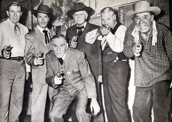 "A gang of oldtimers reunite for roles in A. C. Lyles' ""Law of the Lawless"" ('64 Paramount). (L-R) Bruce Cabot, Kent Taylor, William Bendix, Barton MacLane, Richard Arlen, Lon Chaney Jr."