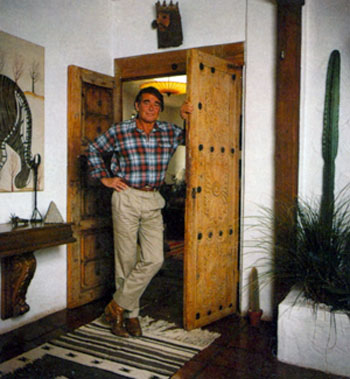 "Stuart Whitman, star of TV's ""Cimarron Strip"", at his Montecito, CA, home in March 1984."