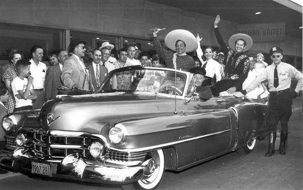 The Cisco Kid (Duncan Renaldo) and Pancho (Leo Carrillo) arrive at an airport for a personal appearance in the mid '50s. (Courtesy Billy Holcomb.)