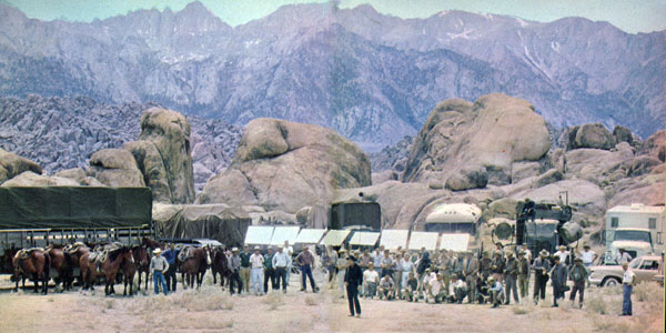 "Richard Boone on location in the Alabama Hills of Lone Pine, CA, for an episode of ""Have Gun Will Travel""."