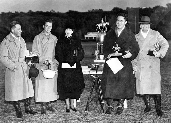 Producer Walter Wanger, Tim Holt, Mrs. Will Rogers, Big Boy Williams and Carl Crawford. Mrs. Rogers was presenting trophies to the winners of the First Annual Will Rogers Memorial Polo Tournament at the Uplifters Club in Pacific Palisades. Circa 1937-'39. (Photo courtesy Carl Crawford's stuntlady daughter Martha Crawford.)