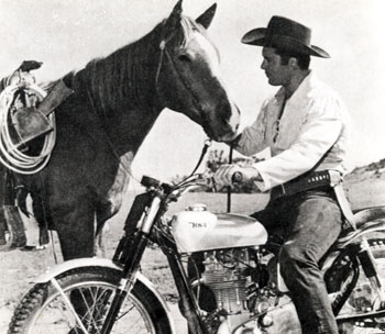 """Why, you traitor!"" seems to be what Clint Walker's horse is thinking as Cheyenne uses another form of transport."