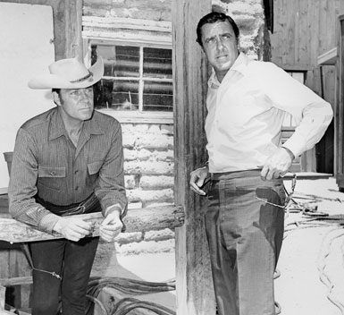 "Dale Robertson with Old Tucson founder Bob Shelton making ready to film an episode of ""Death Valley Days""."