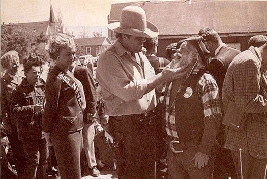 "Dan Blocker, Hoss on ""Bonanza"", beholds Badwater Bill's beard during a ""Bonanza Days"" celebration in Virginia City in 1962."