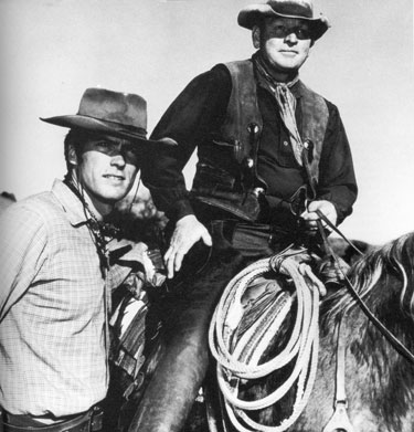 "Clint Eastwood of ""Rawhide"" with rodeo stock contractor Don Hight in 1962."