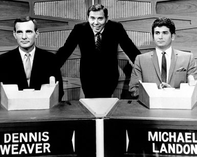 "A very somber Dennis Weaver and Michael Landon guesting on ""Match Game"". Gene Rayburn is the host. (Thanx to Terry Cutts.)"