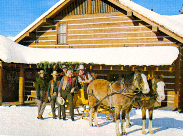 "A snowy scene at the Incline Village ""Bonanza"" house in Lake Tahoe, Nevada with Michael Landon, Lorne Greene, Dan Blocker and a couple of others."