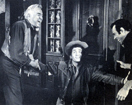 "Clowning around on the set of ""Bonanza"" are Lorne Greene, Michael Landon and Pernell Roberts."