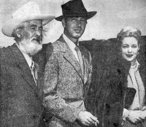 "Gabby Hayes, John Payne and Mary Beth Hughes arrive in El Paso, TX on March 25, 1949 for the premiere of ""El Paso"" (Paramount)."