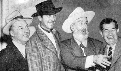 "Co-producers Bill Thomas (left) and Bill Pine (right) share a joke with John Payne and Gabby Hayes at the premiere of ""El Paso"" in Tulsa, OK (3/27/49)."