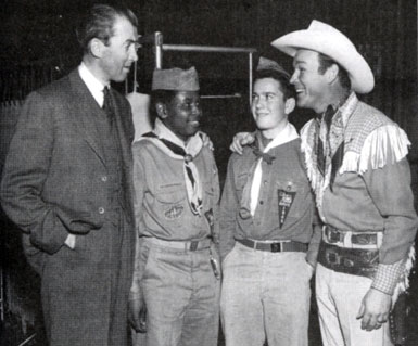 James Stewart and Roy Rogers pay tribute to two Boy Scouts.