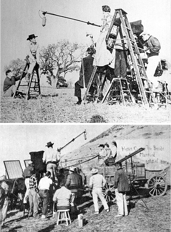 "Robert Horton on location filming scenes for ""Wagon Train: The Vivian Carter Story"" in 1959. In the second photo Phyllis Thaxter in on the wagon with Horton and Ward Bond stands high on a platform."