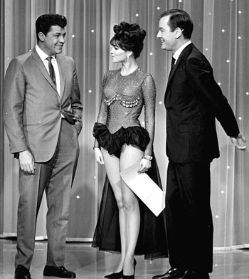 "Dale Robertson, Raquel Welch and Gig Young on TV's ""Hollywood Palace"". (Thanx to Terry Cutts.)"
