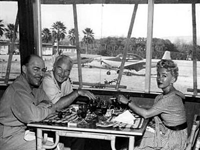 William Boyd, wife Grace Bradley and friend at the once operational Desert Air airport in Palm Desert, CA.