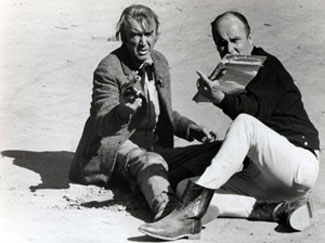 "While making ""Firecreek"" ('68 Warner Bros.) in Sedona, AZ, James Stewart takes a few pointers from director Vincent McEveety."