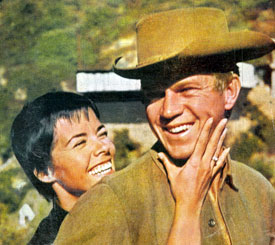"Steve McQueen of ""Wanted Dead or Alive"" and his dancer/singer/actress wife Neile Adams. They were married in 1956."