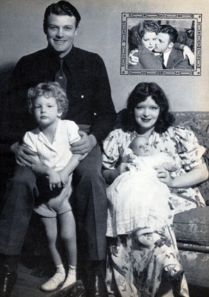 "Rex Bell and wife Clara Bow, Hollywood's ""It Girl"", were married in 1931. Seen here with children Rex Jr. (born in '34) and George (born in '38)."