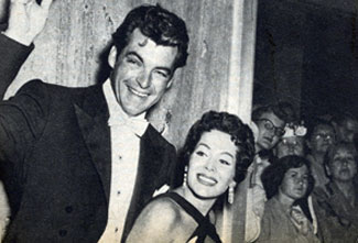 """The Texan"" Rory Calhoun and wife/actress Lita Baron greet fans in late 1955."