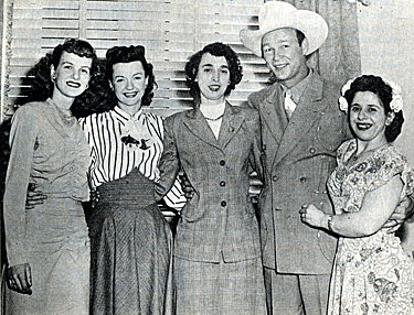 On a 1949 trip to New York, Roy Rogers and Dale Evans met with three devoted Fan-Clubbers. (L-R) Marcella Zarek, Lillian Whitzgall and Fan Club president Virginia Picolis.
