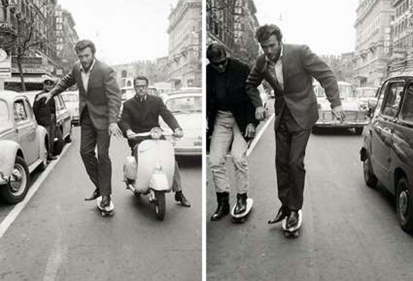 Clint Eastwood stateboarding in Rome in 1965. (Thanx to Terry Cutts.)