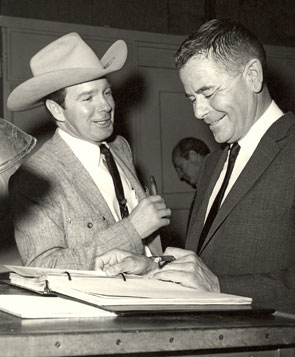 Rodeo star Casey Tibbs and movie star Glenn Ford.