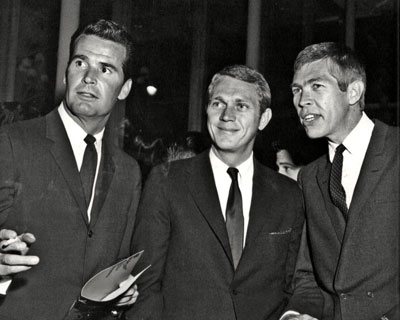 A terrific threesome from the late '50s: James Garner, Steve McQueen, James Coburn. (Thanx to Terry Cutts.)