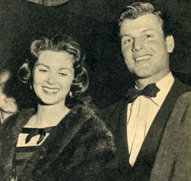 "Joel McCrea's son Jody McCrea with his date Maria Cooper, Gary Cooper's daughter, attending a film premiere in 1957. In 1959 Jody co-starred with his father in the ""Wichita Town"" TV series."