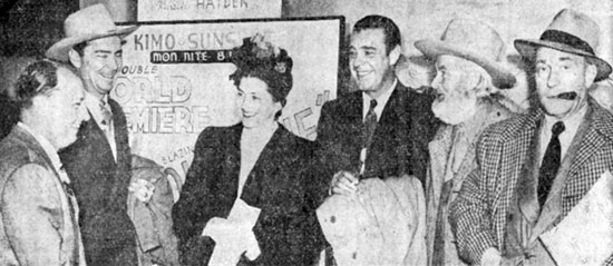 "Attending the world premiere of ""Albuquerque"" in Albuquerque, NM are (L-R) co-producer Bill Thomas and stars Russell Hayden, Catherine Craig, Lon Chaney Jr., Gabby Hayes and William Demarest."