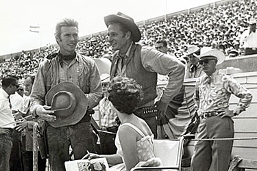 "A rodeo public appearance for ""Rawhide"" co-stars Clint Eastwood and Eric  Fleming. (Thanx to Terry Cutts.)"