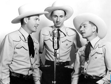 The Jimmy Wakely Trio on CBS Radio. (L-R) Wakely, Johnny Bond, Dick Reinhart.
