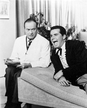 Bob Hope's the psychiatrist in a skit for an on the couch James Garner on a 1961  Hope Buick Show. (Thanx to Terry Cutts.)