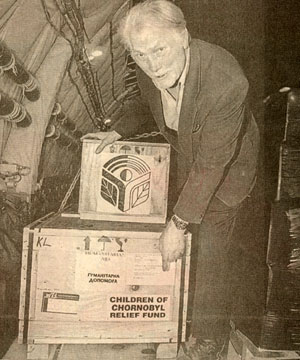 On April 26, 1996 during the 10th anniversary of the Chornobyl nuclear accident in Kiev, Jack Palance, whose parents emigrated from the Ukraine, unloads containers of medical supplies for Chornobyl victims. Palance was a representative of the Children of Chornobyl Relief Fund.