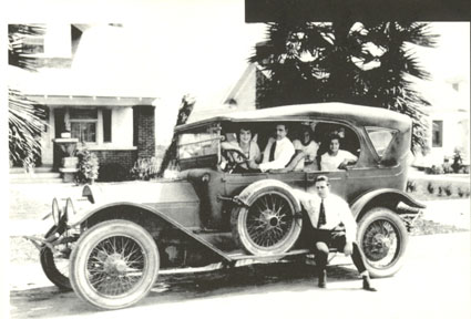 Brothers Jack and Al Hoxie prepare for a family outing in the late '20s or early '30s. Jack and his wife Marin Sais are in the front while Al's wife and daughter are in the back. Al sits on the running board.