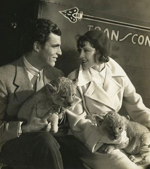 "1933 promotional photo of Buster Crabbe and Frances Dee (aka Mrs. Joel McCrea) taken while the couple were making ""King of the Jungle"" for Paramount. (Thanx to Bobby Copeland.)"