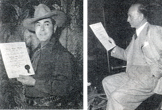 "The motion picture exhibitors of America for the MOTION PICTURE HERALD tradepaper's annual poll of ""The Ten Best Moneymakers"" in the western field. Pictured here Johnny Mack Brown and director Michael Curtiz who was voted Champion of Champion Directors for the seventh consecutive year."